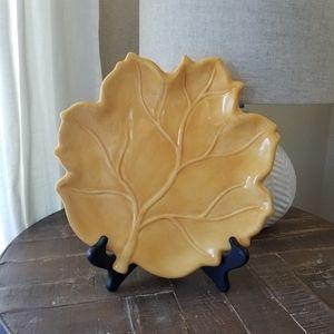 Yellow Leaf Shaped Autumn Fall Decorative Plate